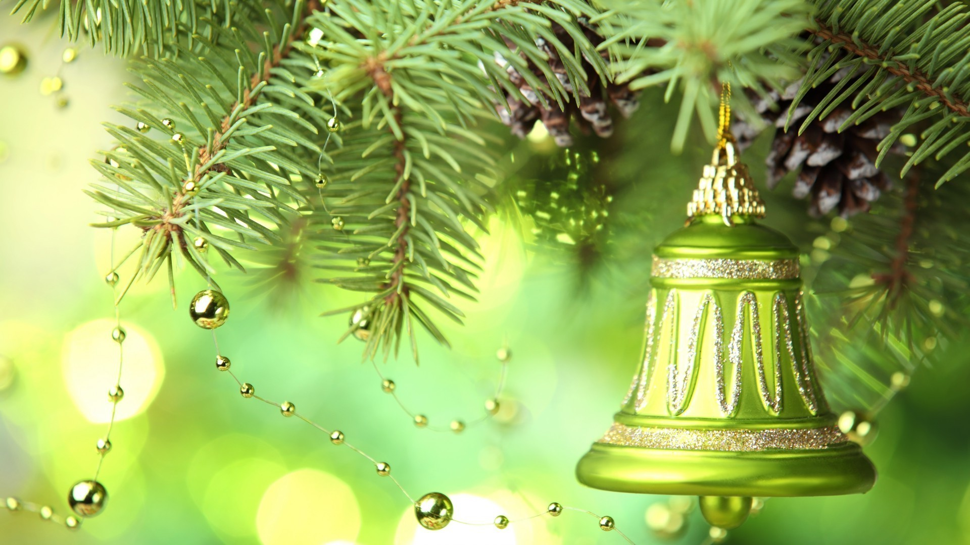 new year christmas winter pine decoration tree hanging fir shining merry celebration gold evergreen branch needle spruce ball eve traditional season