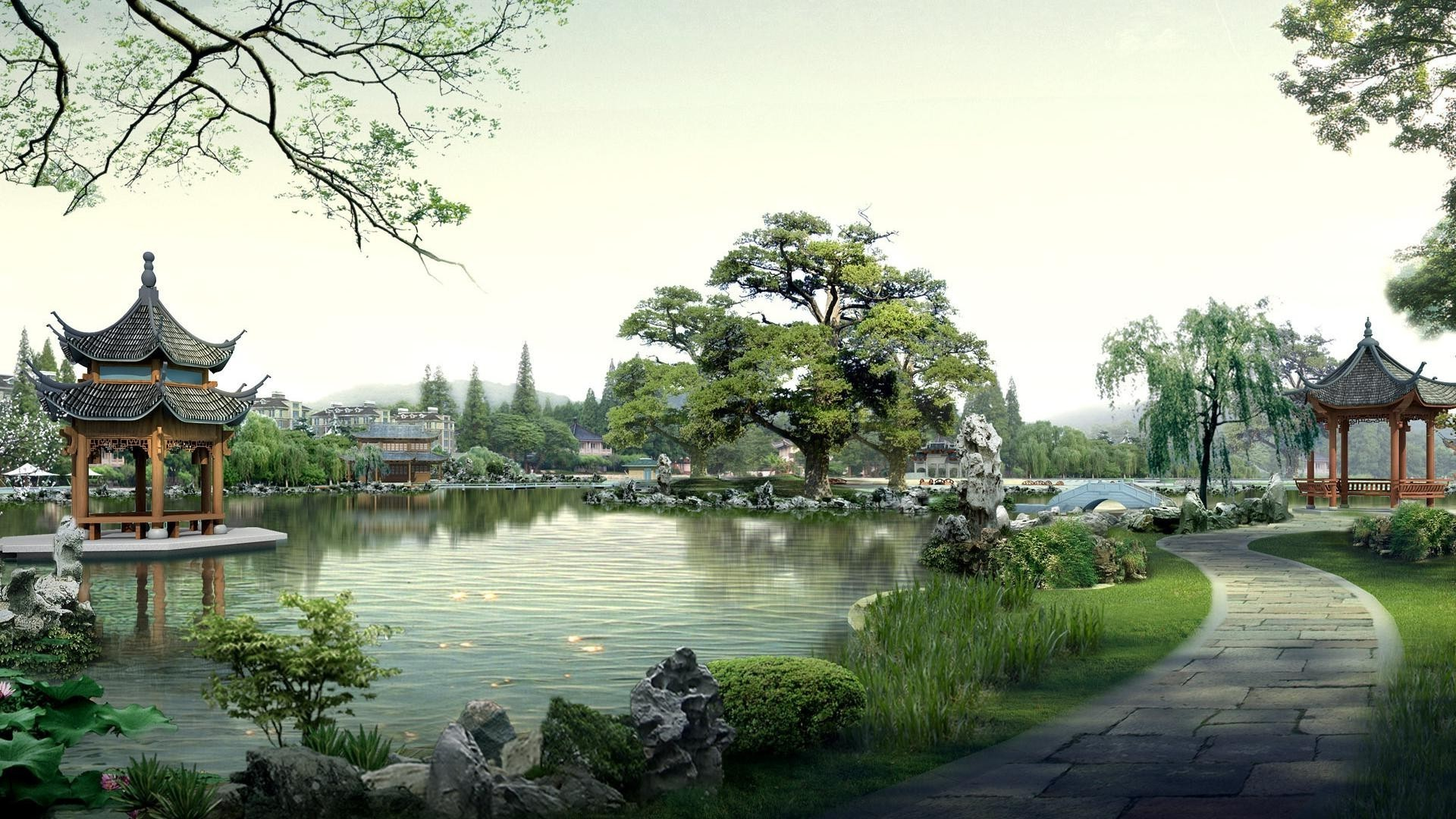 parks tree garden park pool water lake travel architecture building reflection river nature outdoors house marquee bridge culture landscape home