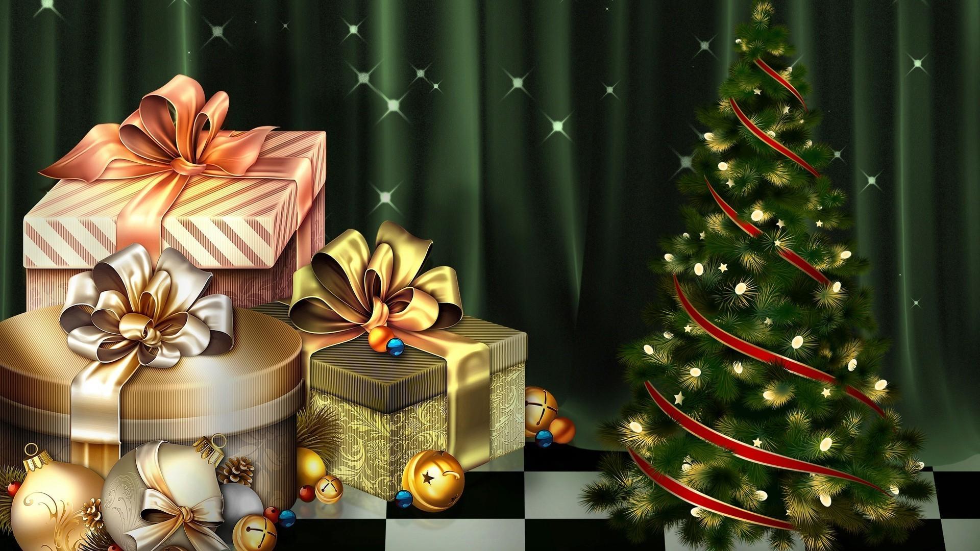 Обои на рабочий стол елка подарки