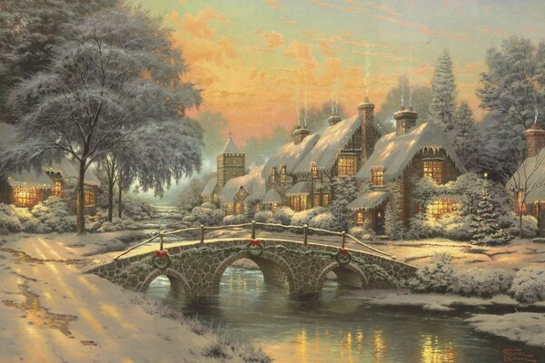 Classic Christmas Painting by Thomas Kinkade