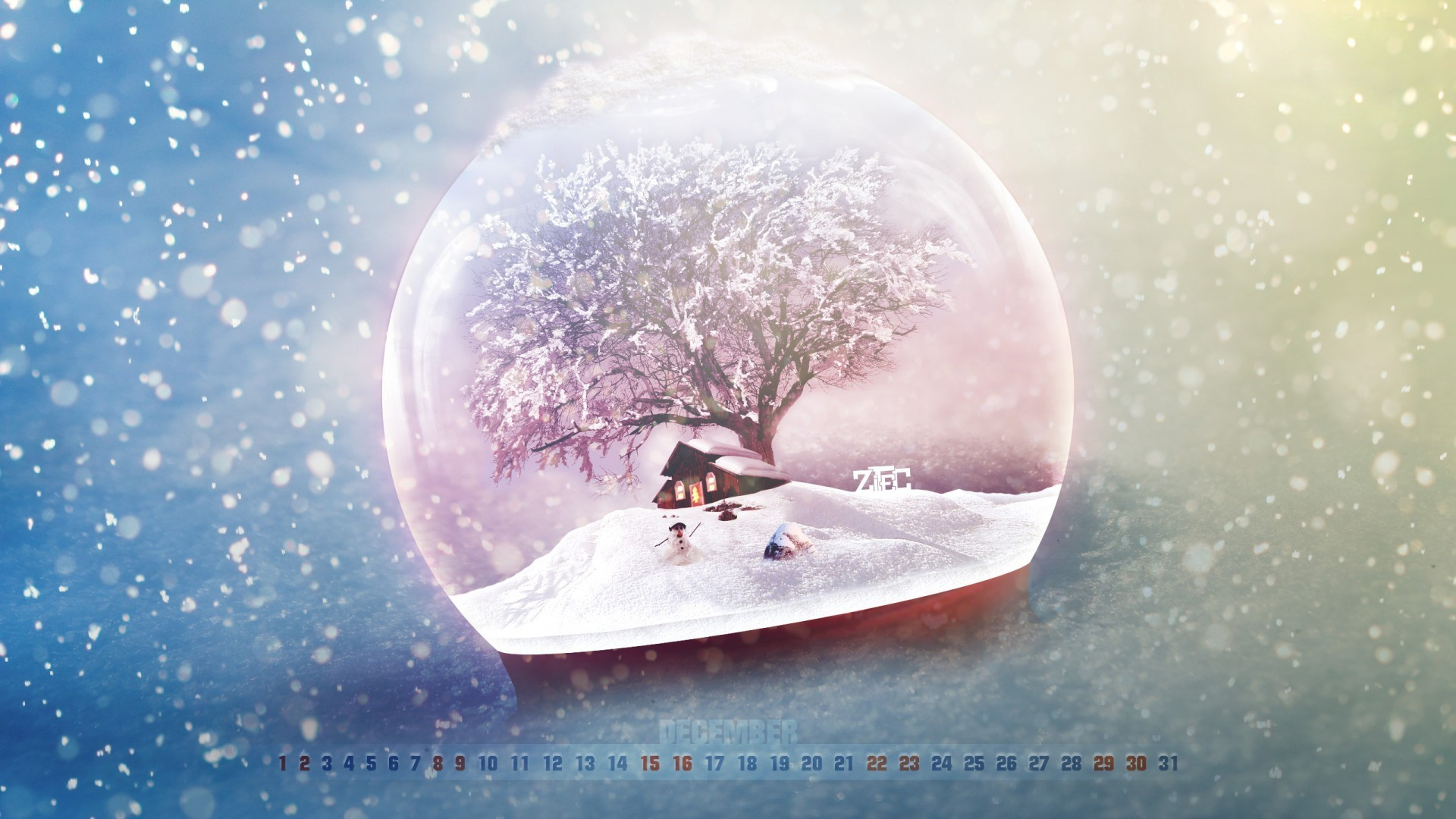 Glass snow globe and snow