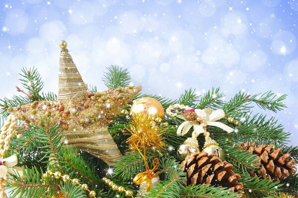 Different Christmas decorations on fir branches