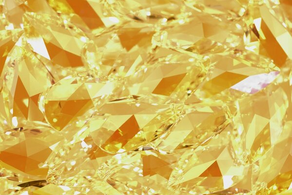 Brilliant yellow background of large precious stones