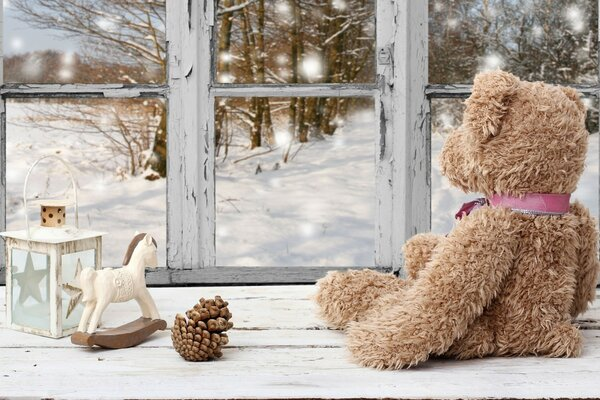 Toy Bear Beside Window