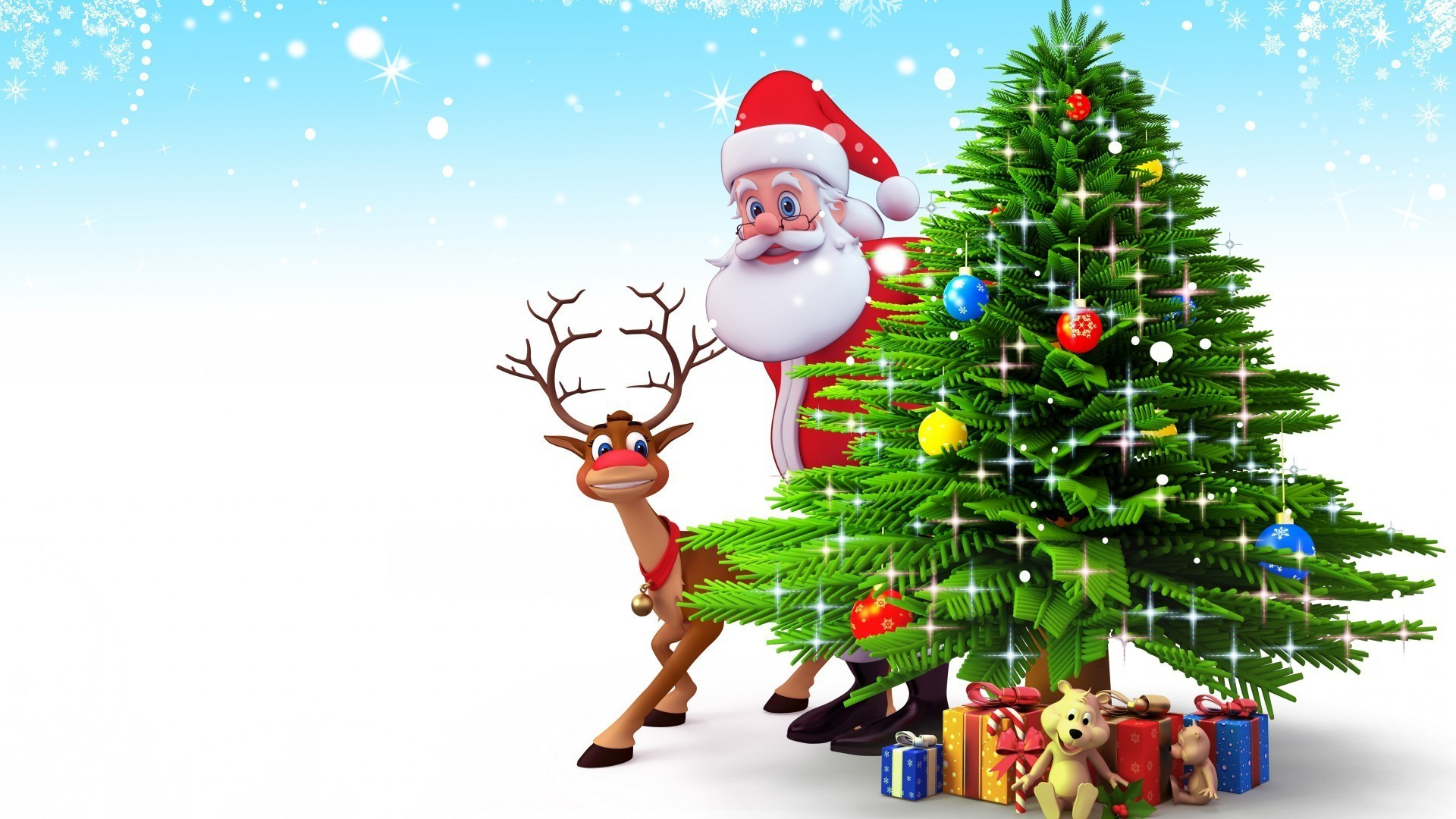 Christmas tree with gifts, Santa Claus and reindeer
