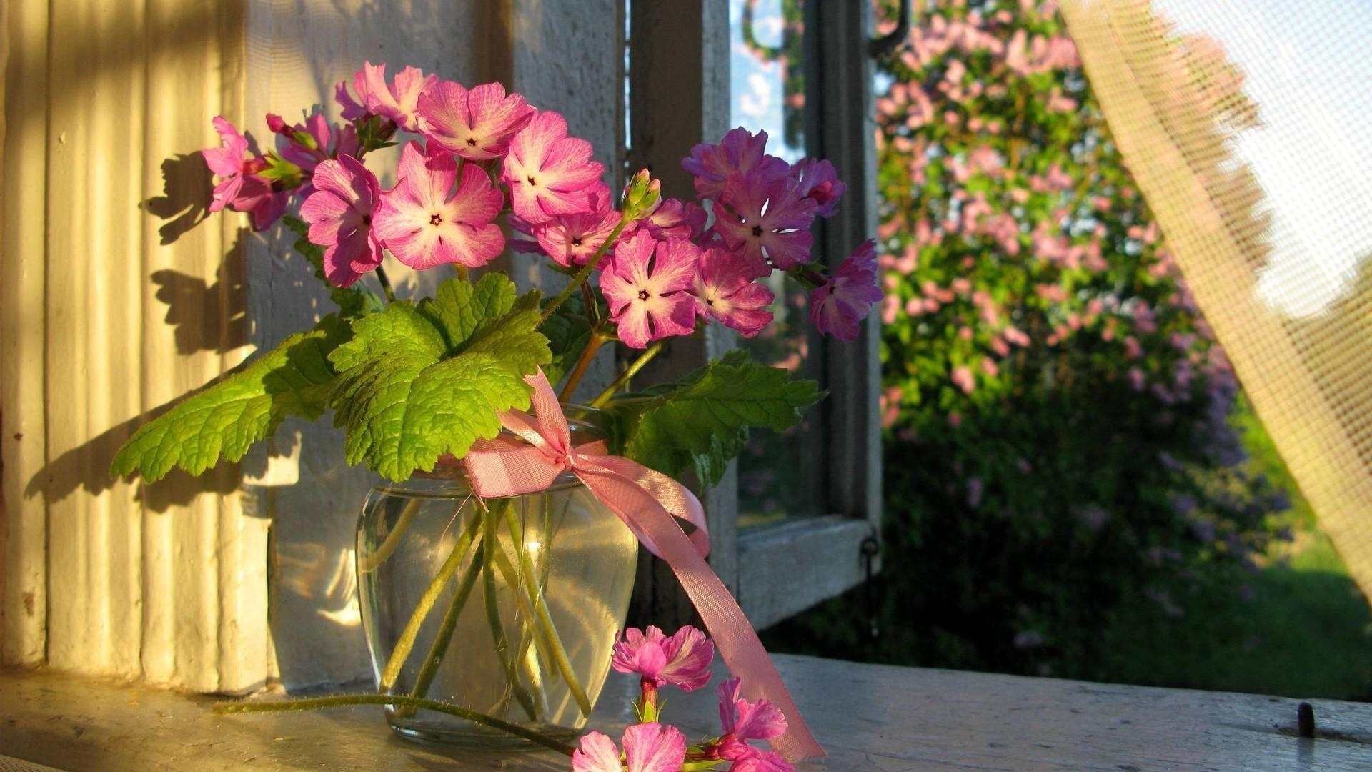 Bouquet of flowers in a glass vase desktop wallpapers 1600x9.
