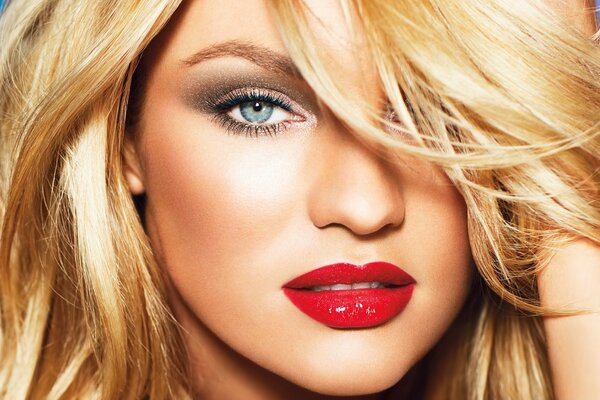 Candice Swanepoel Red Sexy Lips