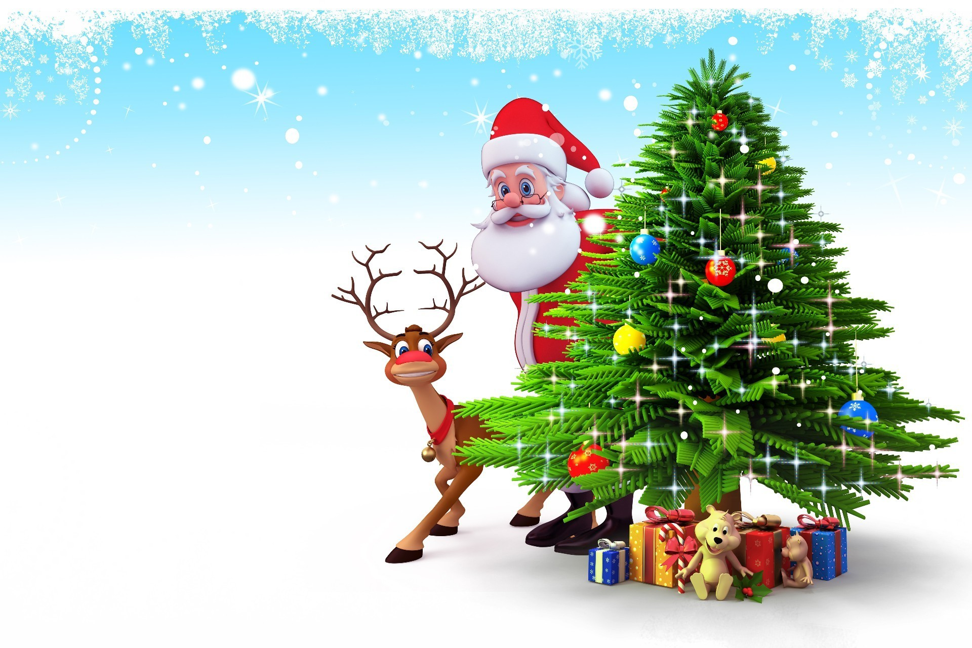 Santa Claus With A Reindeer Behind Christmas Tree With Gifts
