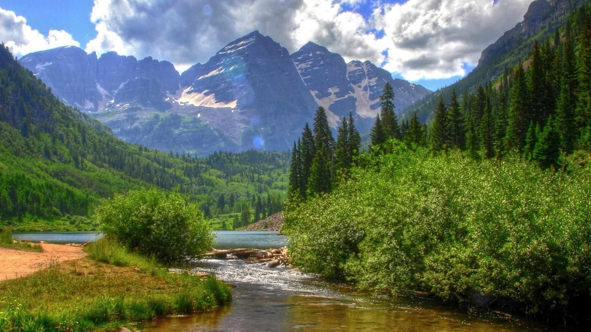 Greens, mountain, river, summer