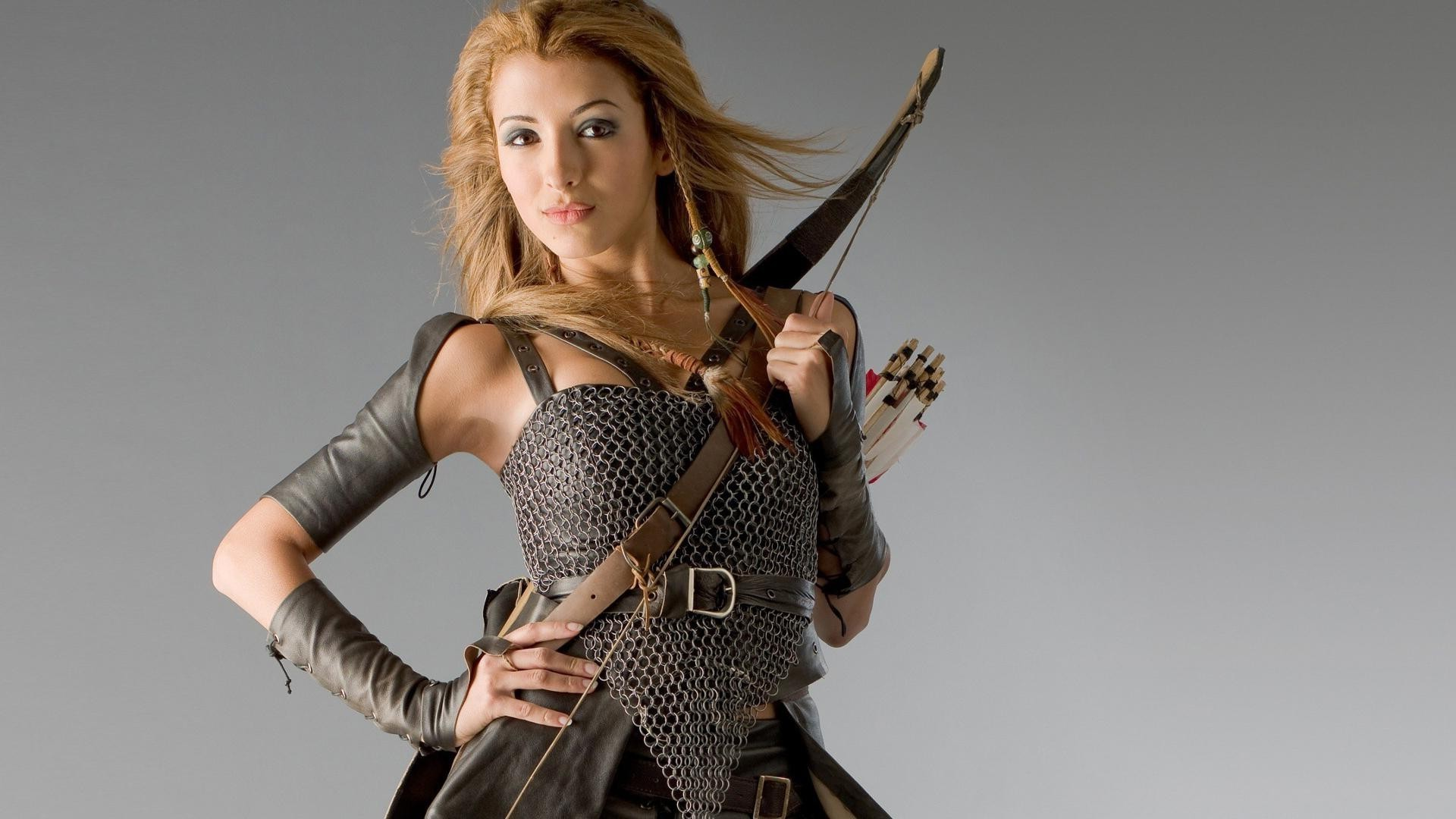 Hottie in chain mail with a bow
