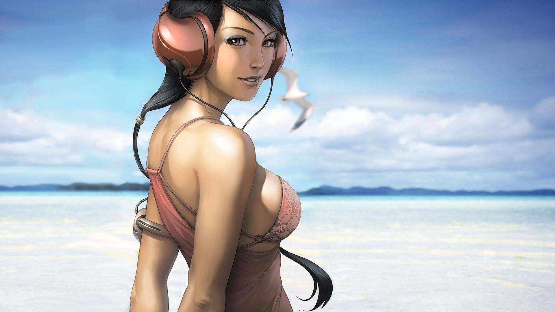girl in headphones. android wallpapers for free.