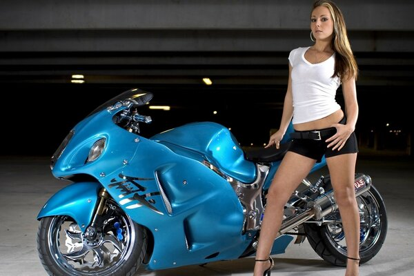 Blue bike and girl
