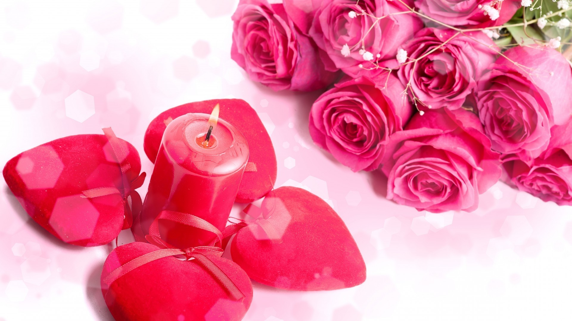 Hearts, roses, candle