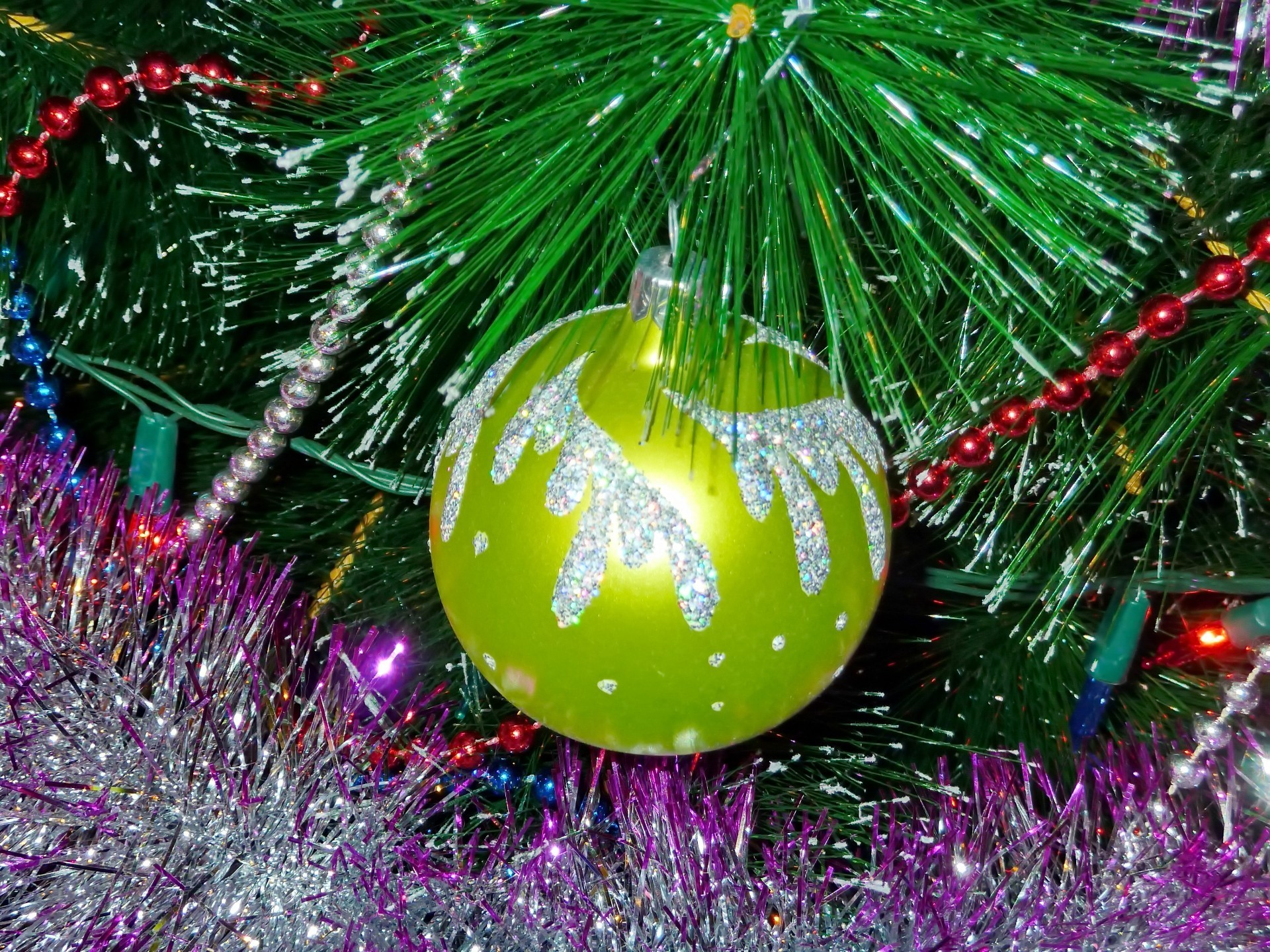 new year christmas winter decoration celebration ball shining tree sphere pine bright merry color season glisten fir desktop branch hanging thread