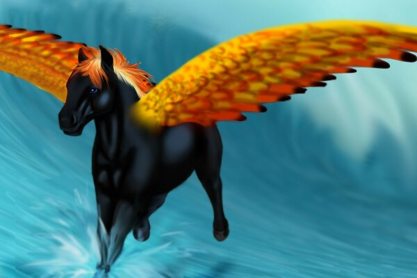 Pegasus runs on the waves