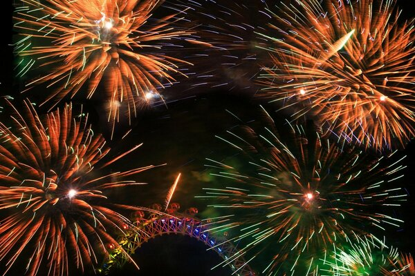 Colorful Fireworks Around The London Eye London New Years Eve