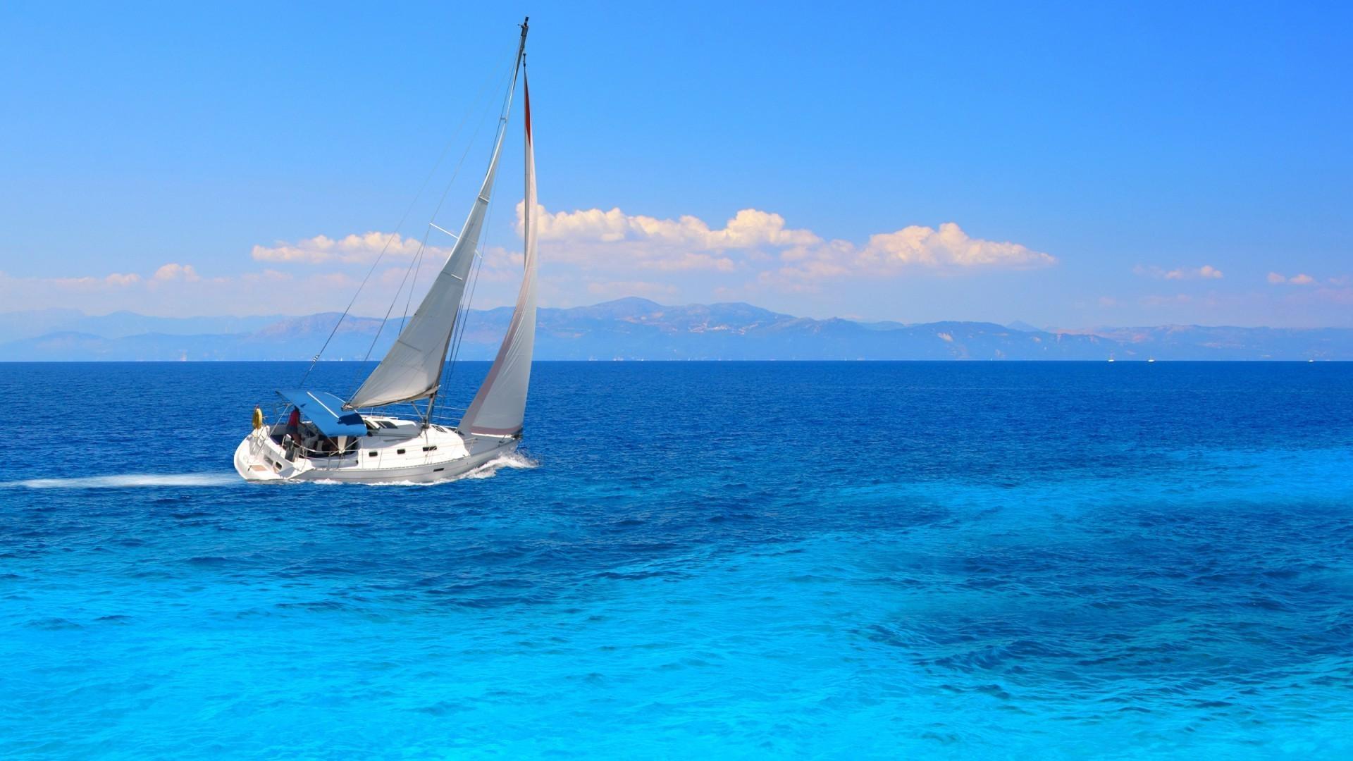 яхта парус море остров  № 3944464 бесплатно