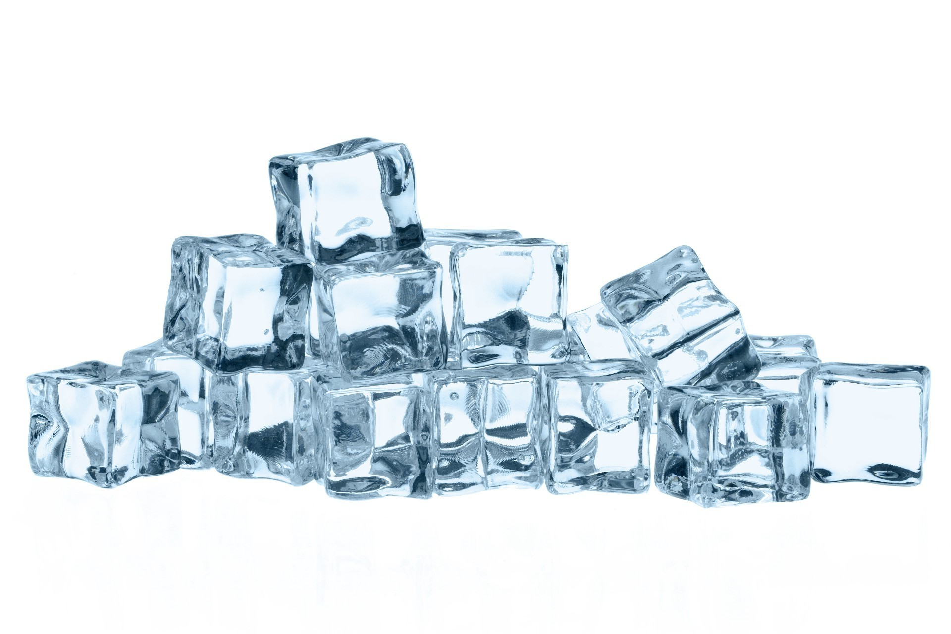 A bunch of ice cubes on white background