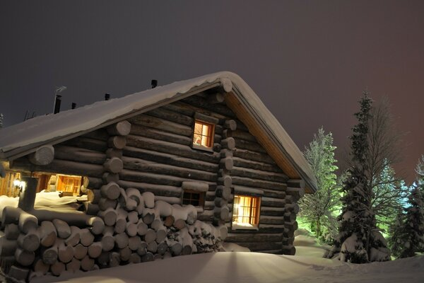 House in winter night