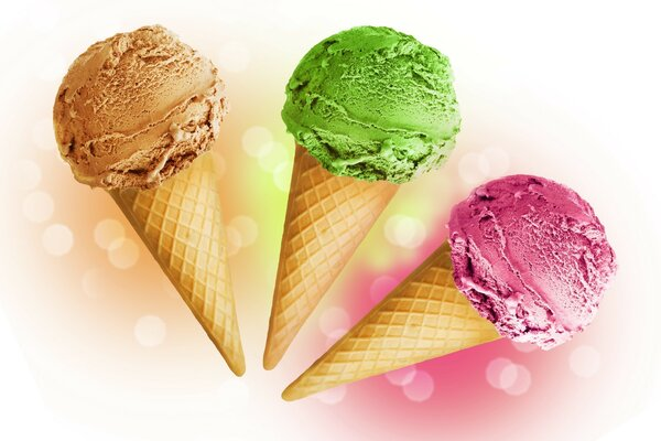 Pink, green, and chocolate ice cream