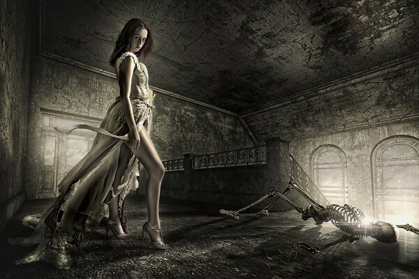 Girl, castle, skeleton
