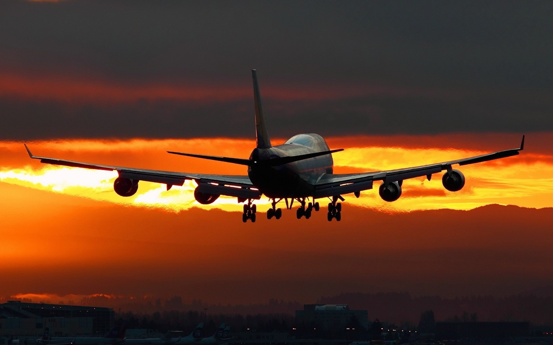 самолет полет закат скачать