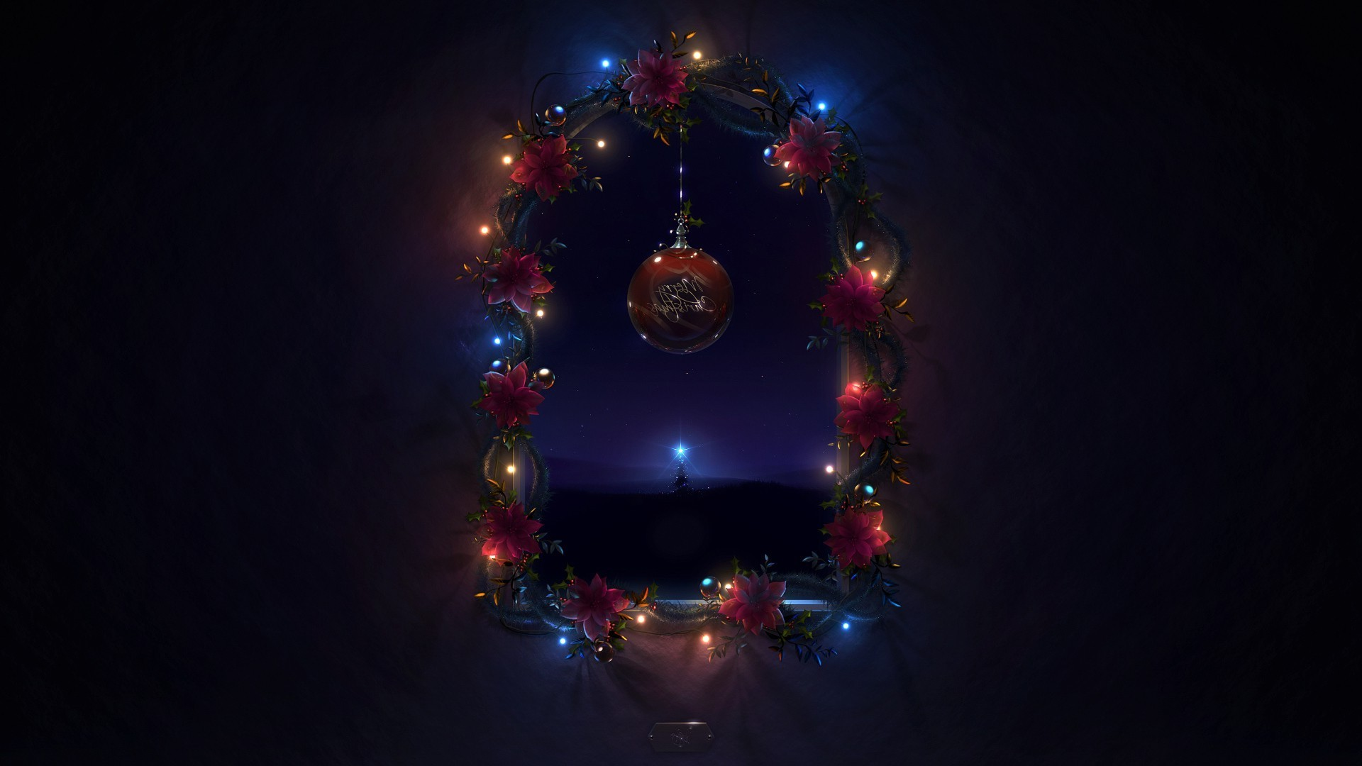 new year christmas celebration shining decoration light winter ball sphere bright dark
