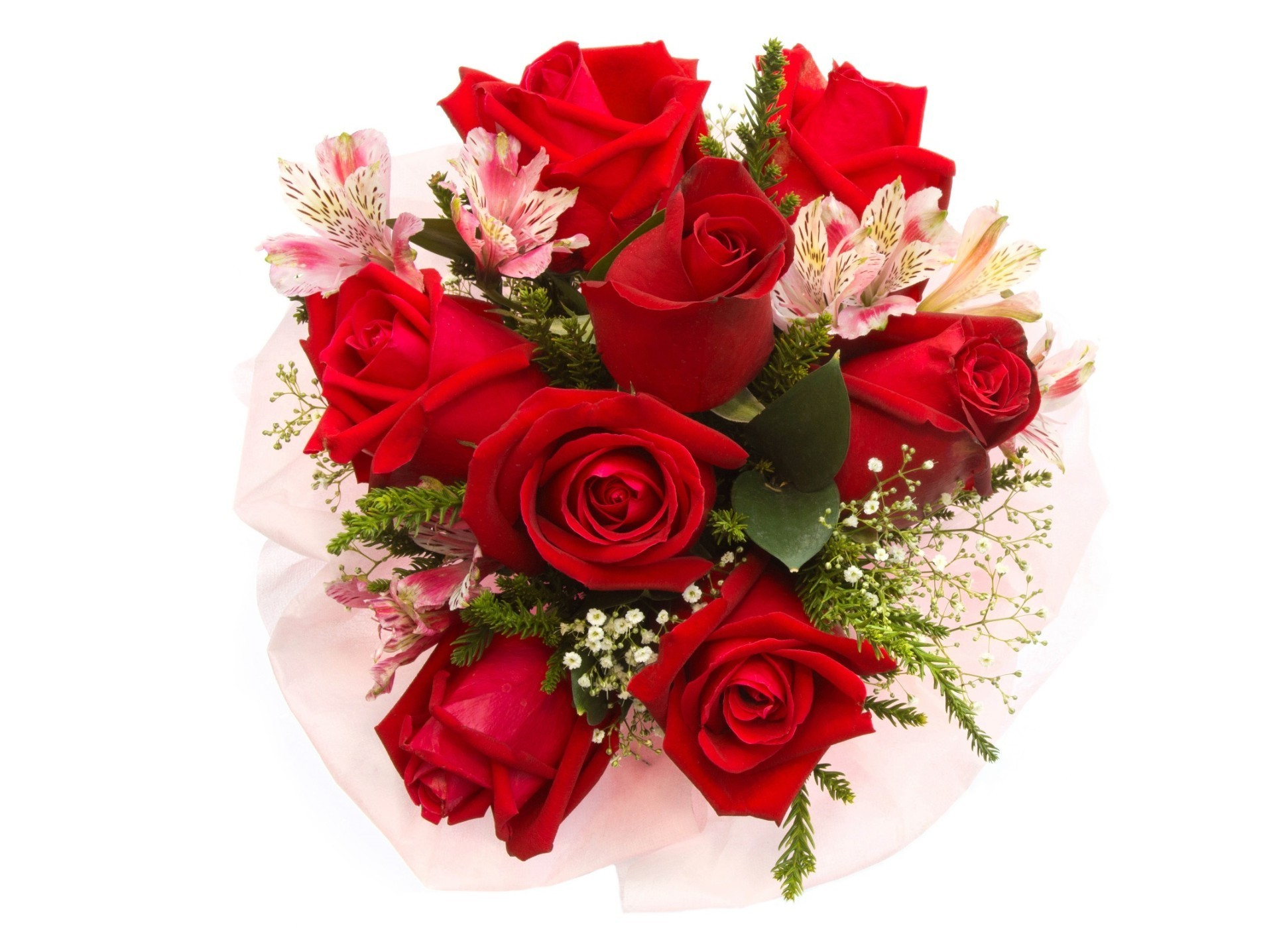 Red roses with small pink flowers