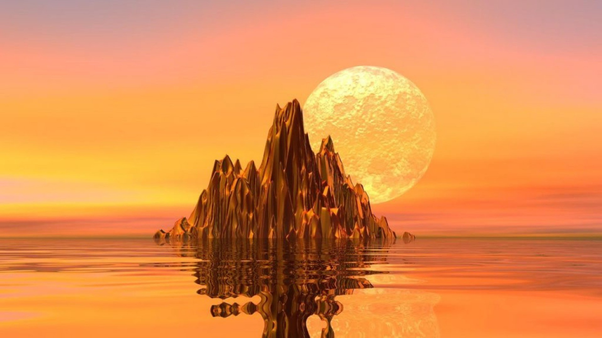 Expanse of sea, rocks, sunset, moon