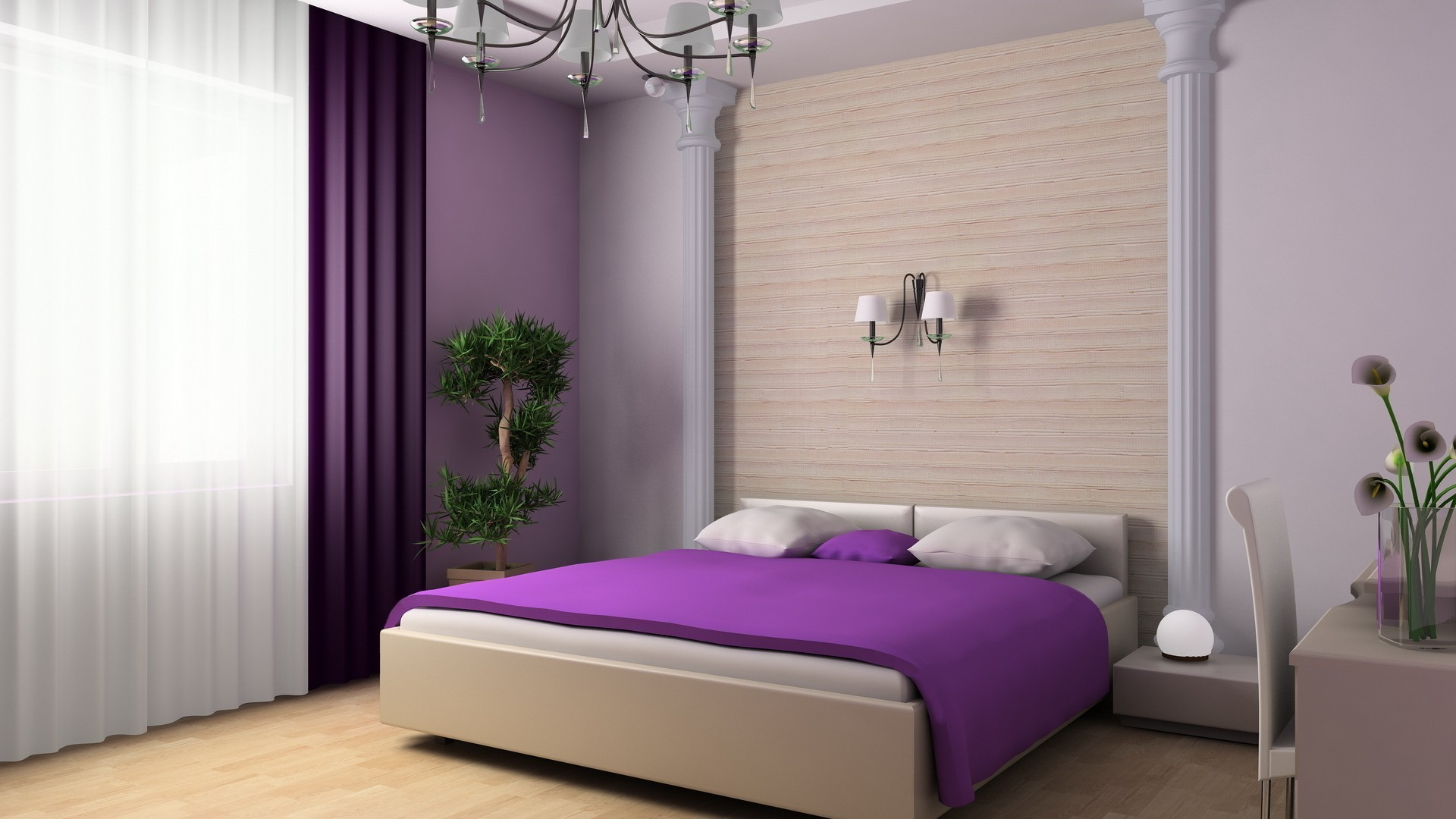 bedroom furniture room bed lamp hotel contemporary floor indoors interior design apartment house window inside pillow table luxury headboard home family