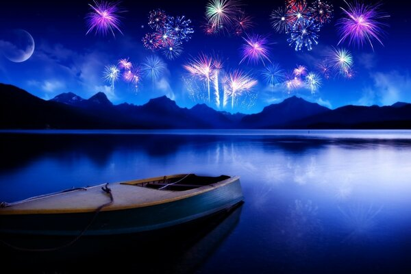 Night, fireworks, boat, Bay, mountains