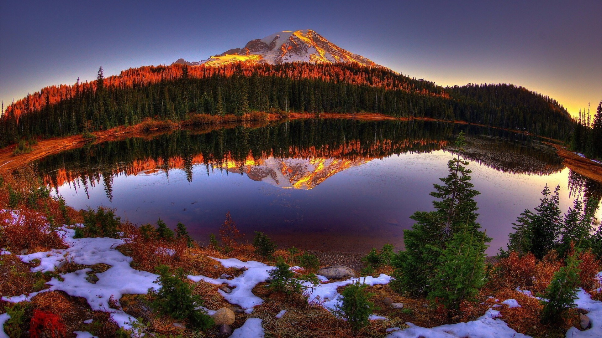 The Sunset And Sunrise Water Lake Snow Reflection Travel Outdoors Nature Dawn Landscape Mountain Sky