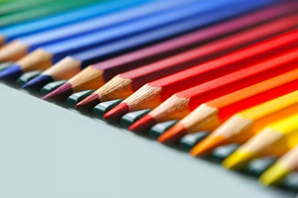 Rainbow Colored Pencils Macro