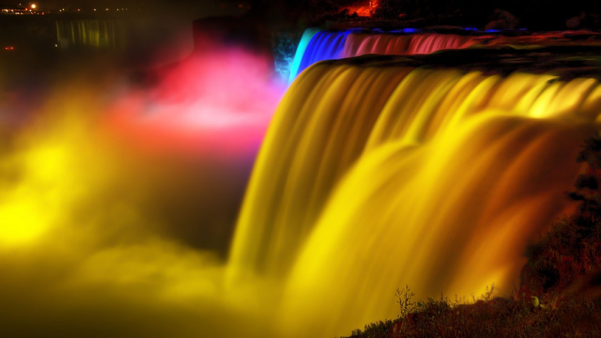 waterfalls blur abstract art flame light texture color luminescence flash motion