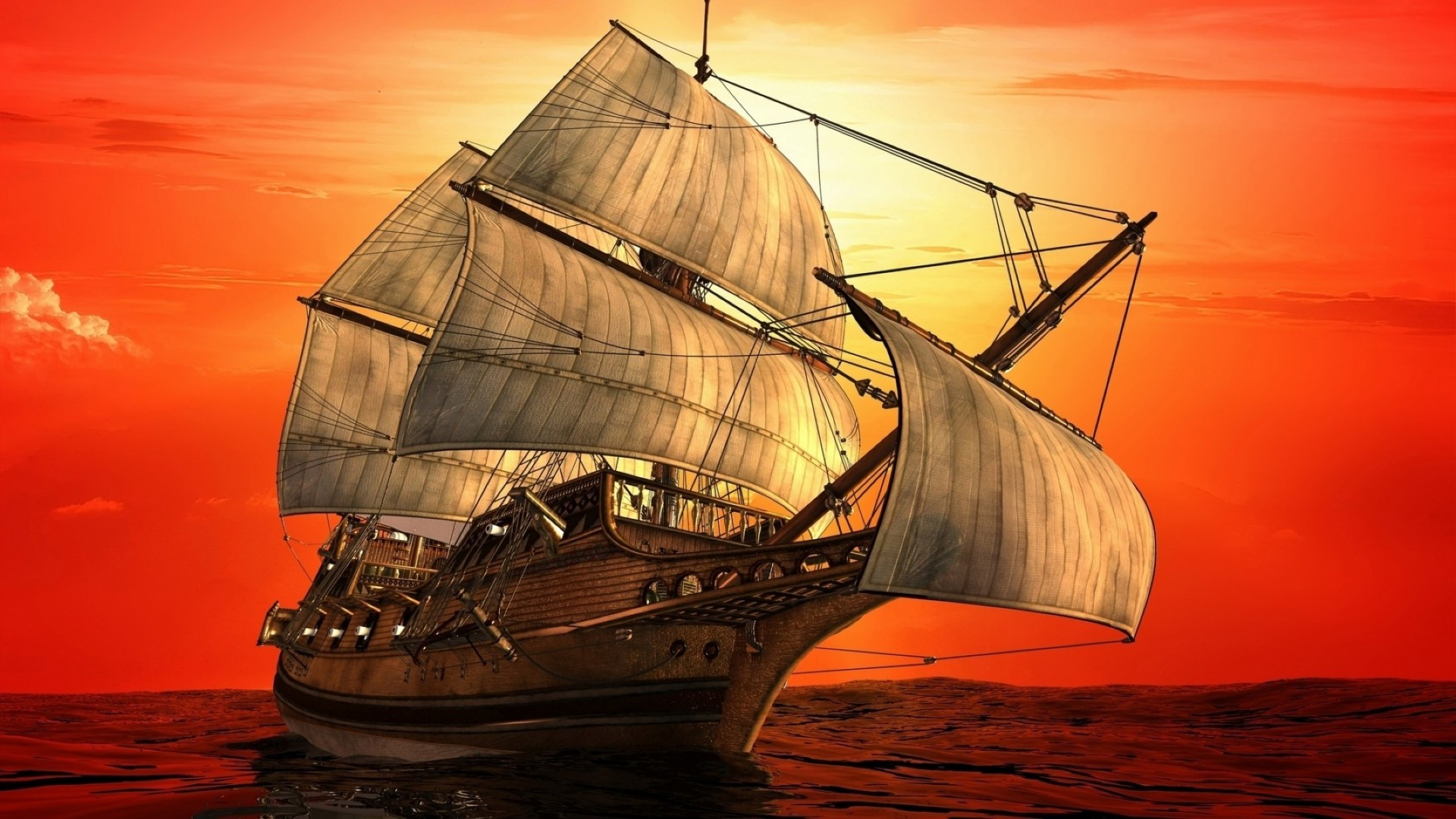 painted sailing ship  illustration for adventure  android