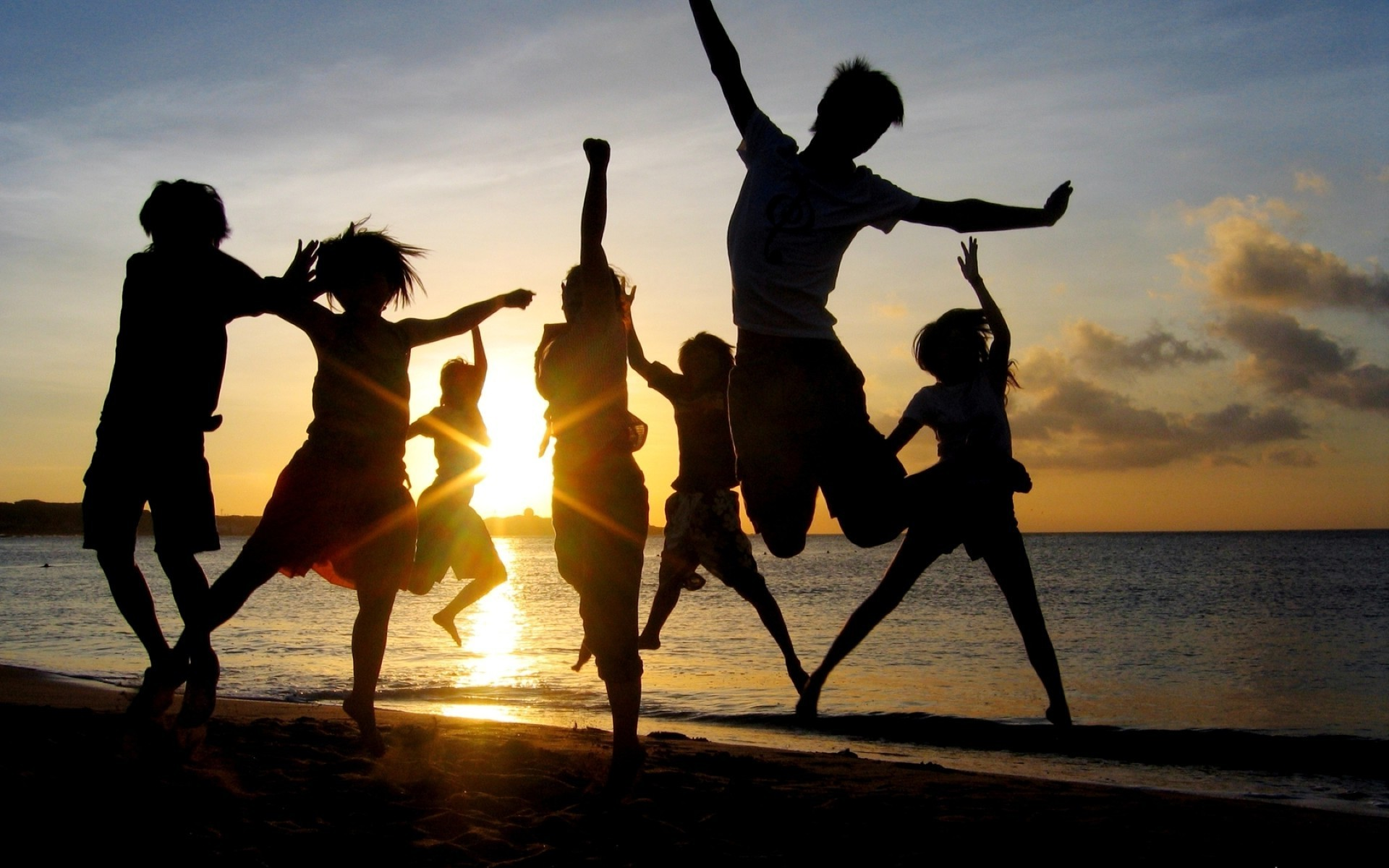 music dancing man sunset silhouette recreation fun dancer love beach woman backlit action motion boy child two enjoyment competition