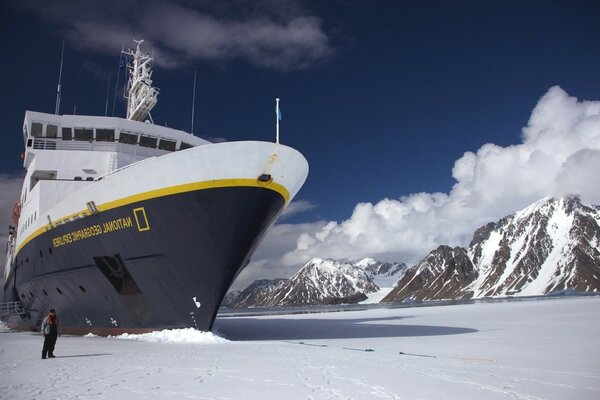 NationalGeographic icebreaker in the polar expedition