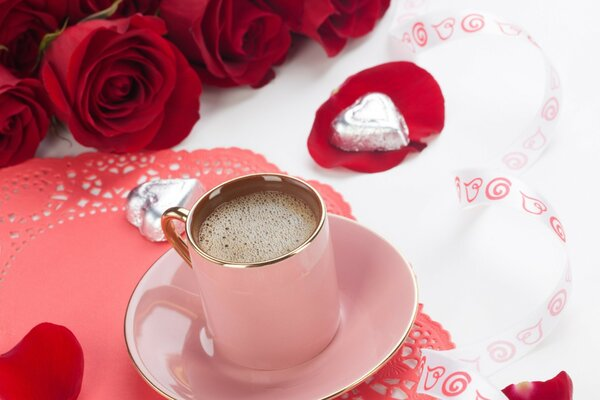 A Cup of coffee, a bouquet of red roses and chocolates - it s all for love