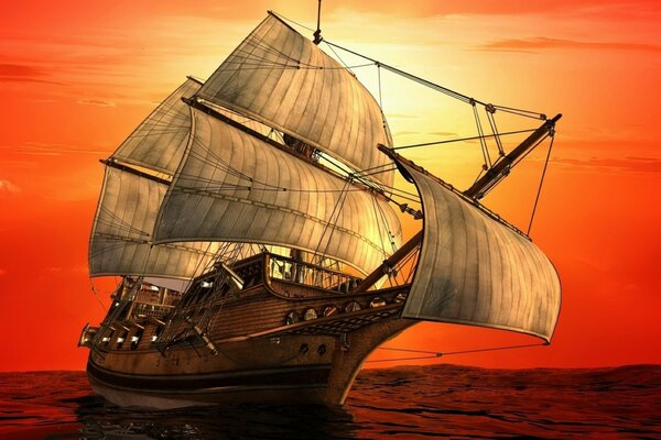 Painted sailing ship. Illustration for adventure