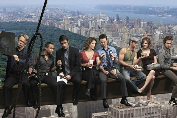 People of different professions sitting on a beam at the height of a skyscraper