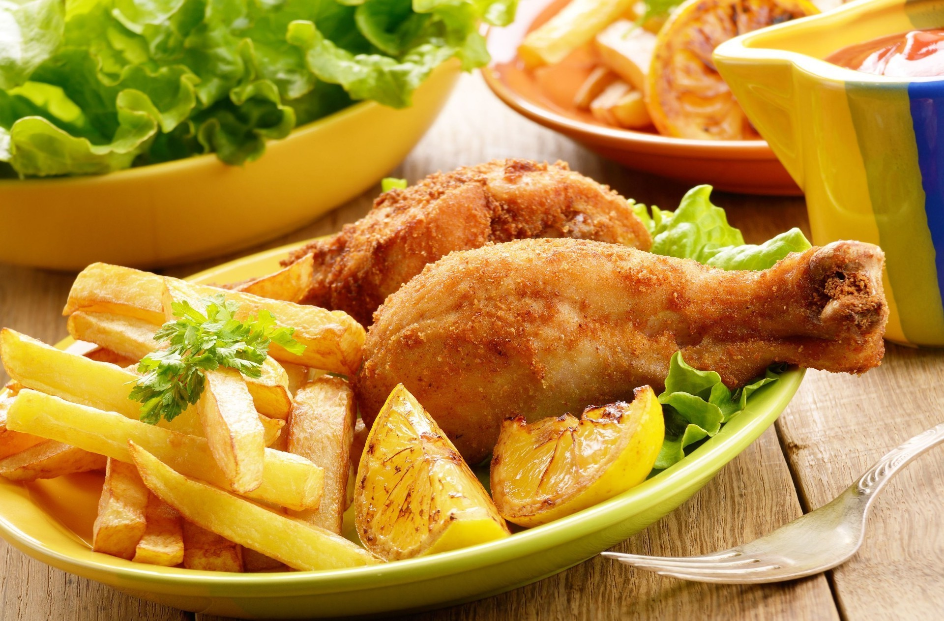 food & drink dinner lunch food lettuce meal delicious meat chicken vegetable plate french fries salad dish nutrition potato cuisine