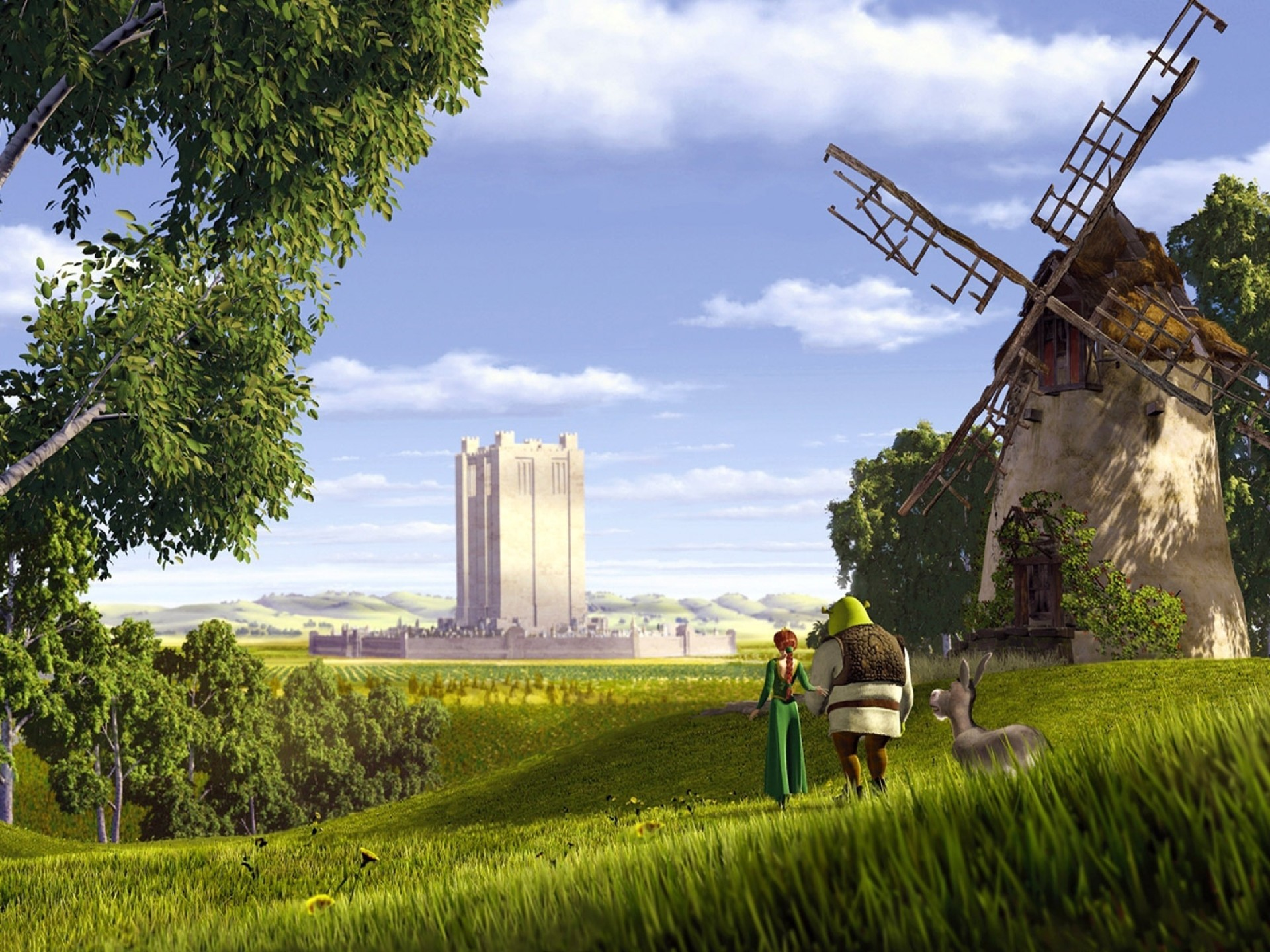 Donkey Shrek And His Beloved Walking In A Field Android Wallpapers For Free