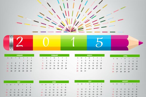 The calendar for 2015. Pencil