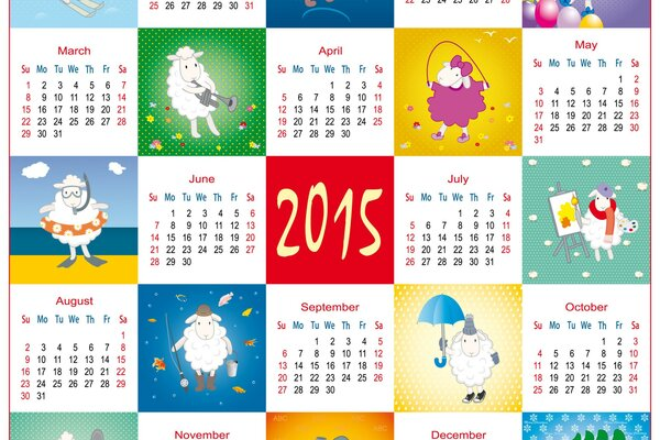 A fun calendar for 2015 year with cartoon sheep