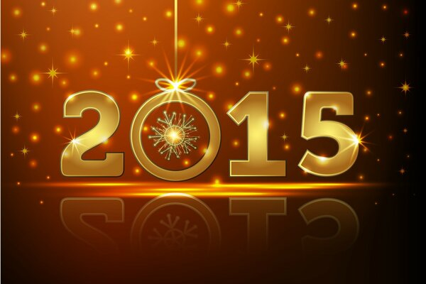 Inscription new year 2015. Stars and bright lights