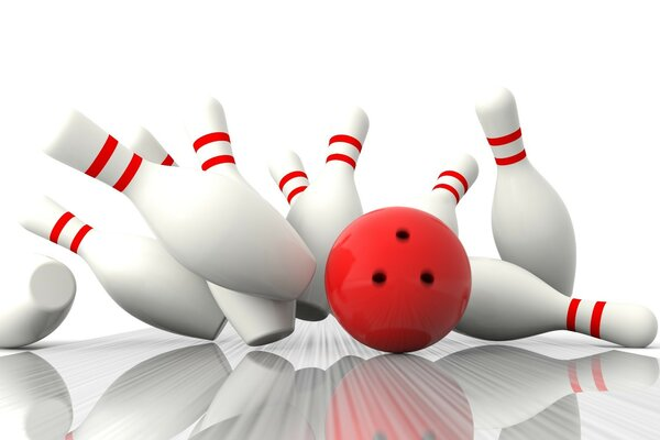 Bowling ball knocks down pins
