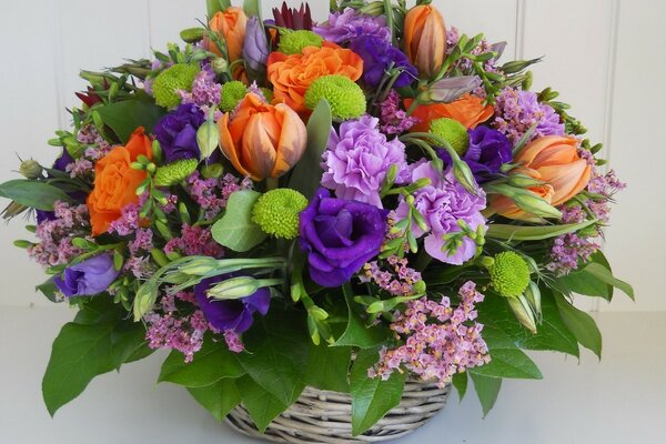 Bouquet in a basket