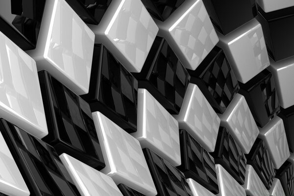 3D Cubes Black And White