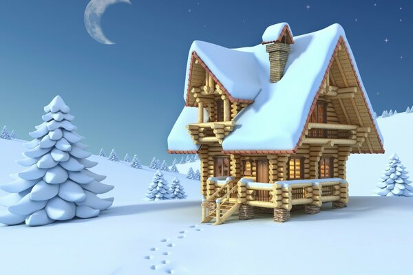 Wooden Chalet Winter 3D