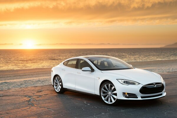 Tesla Model S in White, At the Beach
